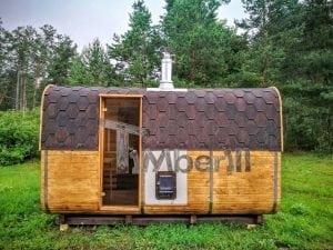 Rectangular wooden outdoor sauna 6