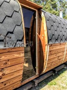 Rectangular wooden outdoor sauna 7 1