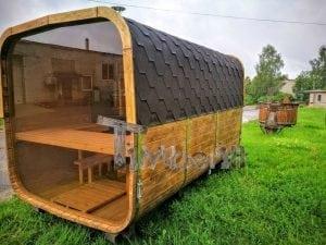 Rectangular wooden outdoor sauna 8