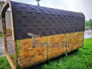 Rectangular wooden outdoor sauna 9