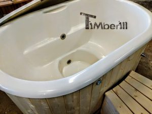 Oval hot tub for 2 persons with fiberglass liner 13