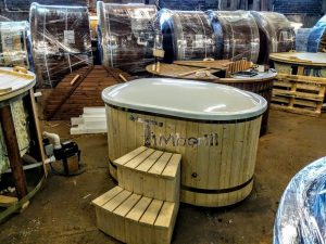 Oval hot tub for 2 persons with fiberglass liner 14