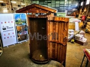 Outdoor indoor wooden shower thermo wood with LED 11