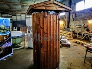 Outdoor indoor wooden shower thermo wood with LED 6