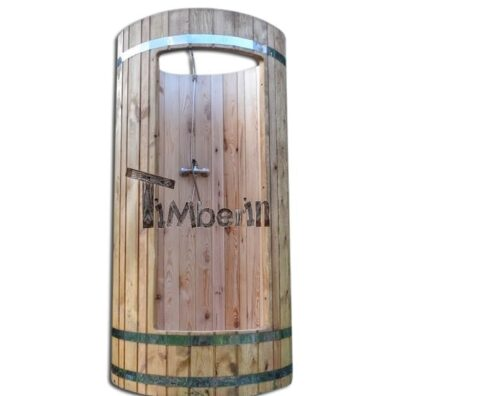 Outdoor wooden shower after hot tub or sauna sesion