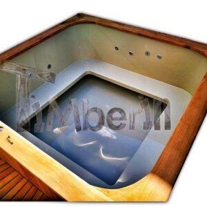 Square wooden hot tub