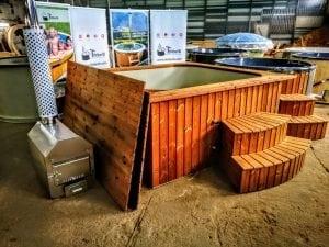 Wood fired hot tub square rectangular model with external wood burner 11
