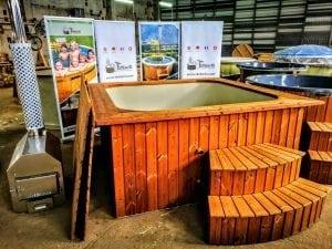 Wood fired hot tub square rectangular model with external wood burner 12