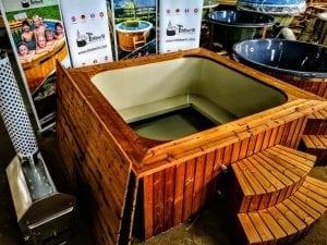 Wood fired hot tub square rectangular model with external wood burner 4