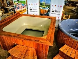 Wood fired hot tub square rectangular model with external wood burner 6