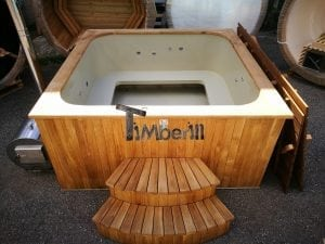 Wood fired outdoor hot tub rectangular deluxe with outside heater 25