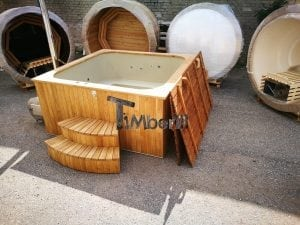 Wood fired outdoor hot tub rectangular deluxe with outside heater 3