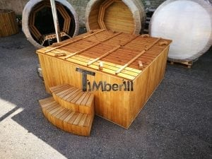 Wood fired outdoor hot tub rectangular deluxe with outside heater 38