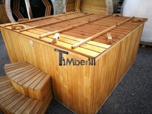 Wood fired outdoor hot tub rectangular deluxe with outside heater 39
