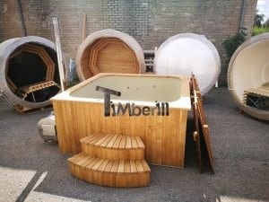 Wood fired outdoor hot tub rectangular deluxe with outside heater 4