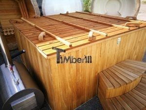 Wood fired outdoor hot tub rectangular deluxe with outside heater 40
