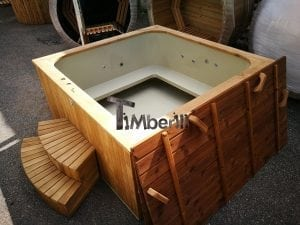 Wood fired outdoor hot tub rectangular deluxe with outside heater 5
