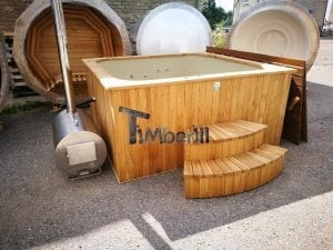 Wood fired outdoor hot tub rectangular deluxe with outside heater 7