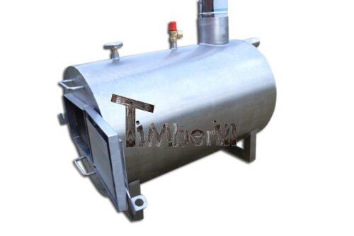 External wood burner fired hot tub heater