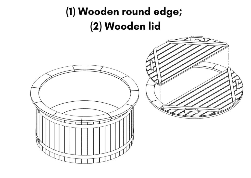 Outdoor garden hot tub jacuzzi with polypropylene liner 1 Wooden round edge 2 Wooden lid 1