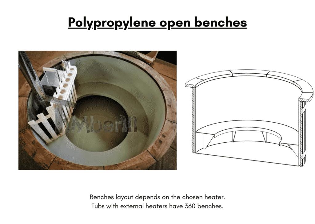 Outdoor garden hot tub jacuzzi with polypropylene liner Polypropylene open benches6