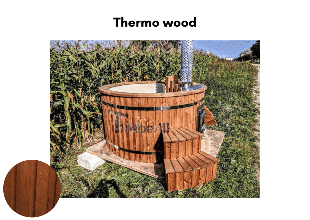 Outdoor garden hot tub jacuzzi with polypropylene liner Thermo wood 4