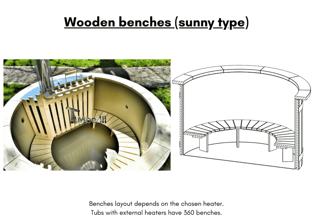 Outdoor garden hot tub jacuzzi with polypropylene liner Wooden benches sunny type5