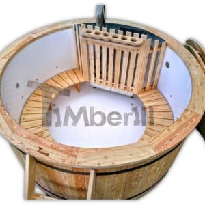 Outdoor wooden hot tub