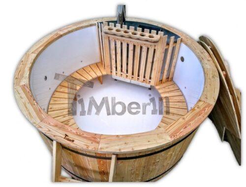 Outdoor wooden hot tub