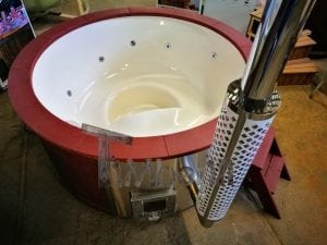 Fiberglass lined outdoor hot tub integrated heater with wood staining in red 15