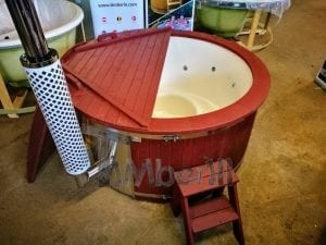 Fiberglass lined outdoor hot tub integrated heater with wood staining in red 3