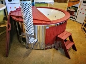 Fiberglass lined outdoor hot tub integrated heater with wood staining in red 6