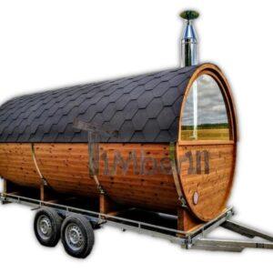 Outdoor barrel sauna on wheels mobile