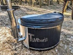 Black fiberglass lined hot tub with integrated burner Wellness Scandinavian 43