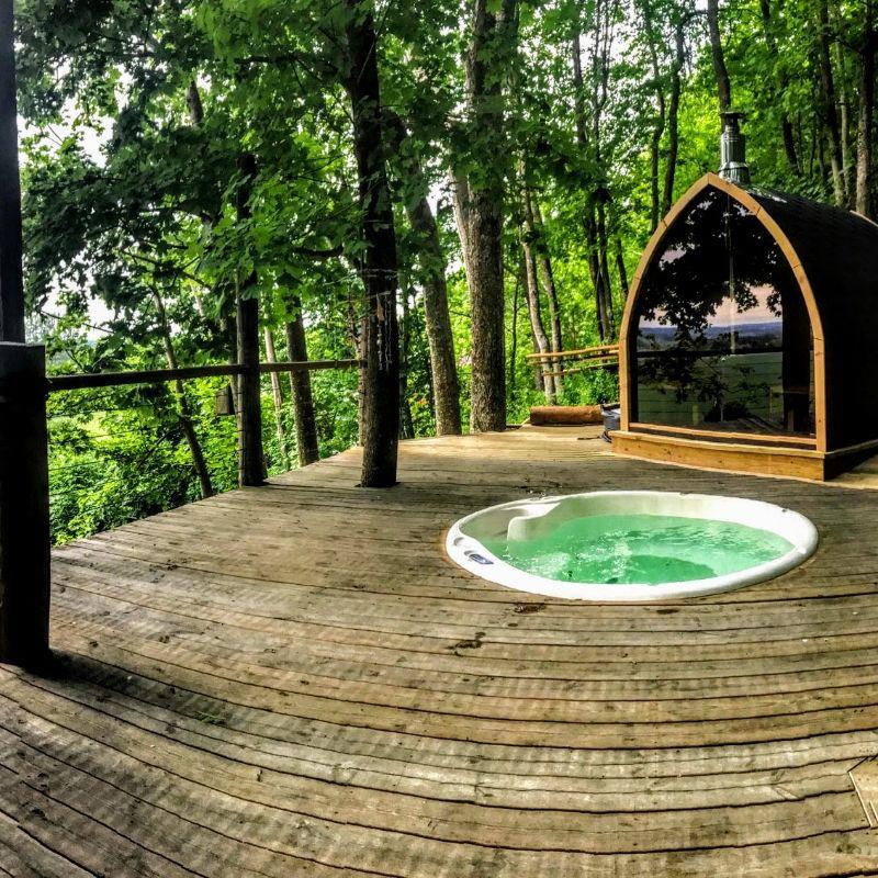 Outdoor electric sauna