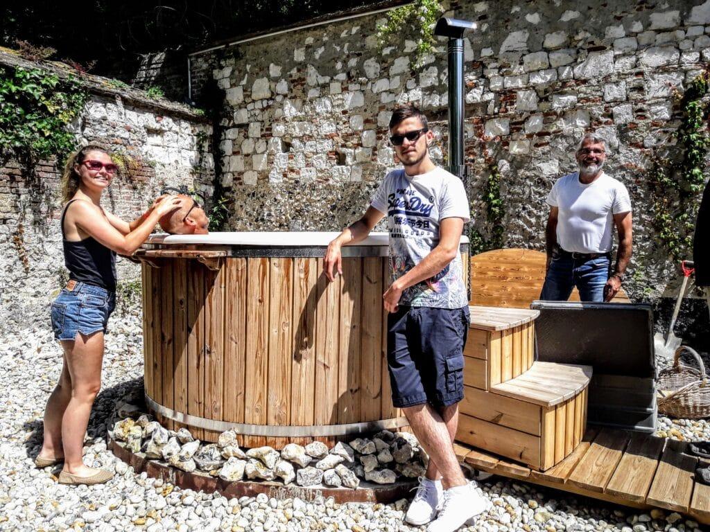 Wood fired hot tub fiberglass TimberIN