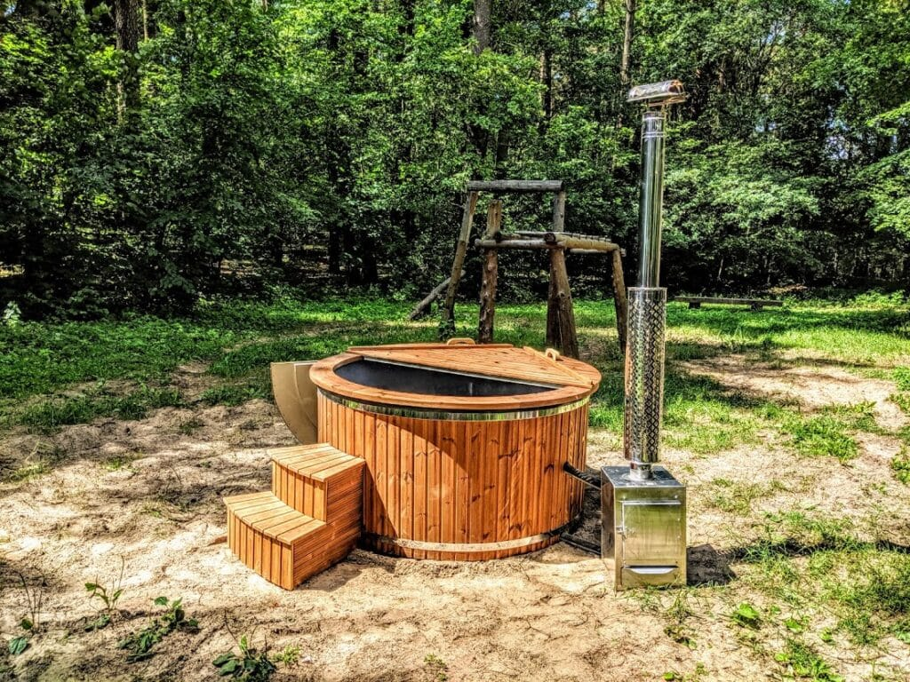 External wood hot tub stove