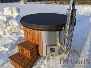 Wood fired hot tub with jets with external wood burner 1