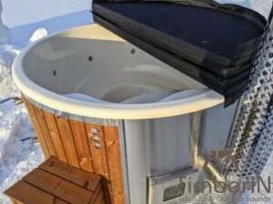 Wood fired hot tub with jets with external wood burner 11