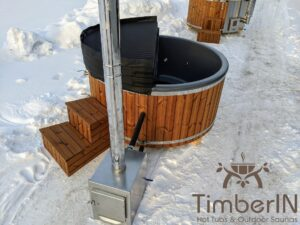 Wood fired hot tub with jets with external wood burner 13