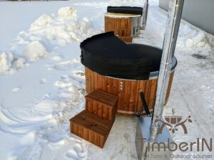 Wood fired hot tub with jets with external wood burner 16