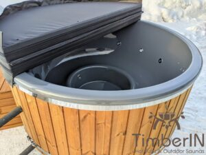 Wood fired hot tub with jets with external wood burner 19