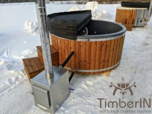 Wood fired hot tub with jets with external wood burner 22