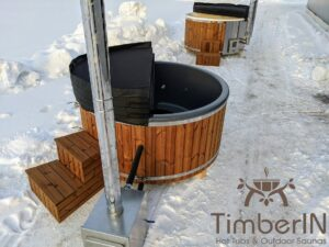 Wood fired hot tub with jets with external wood burner 25