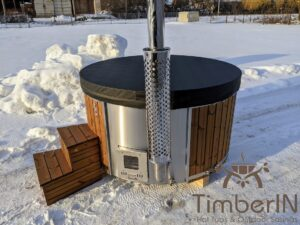 Wood fired hot tub with jets with external wood burner 26