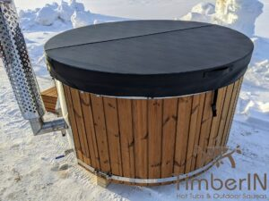 Wood fired hot tub with jets with external wood burner 27