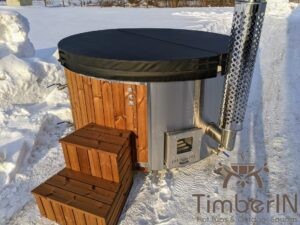 Wood fired hot tub with jets with external wood burner 28