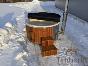 Wood fired hot tub with jets with external wood burner 8