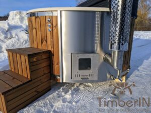 Wood fired hot tub with jets with external wood burner 9