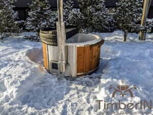 Wood fired hot tub with jets with integrated wood burner 10
